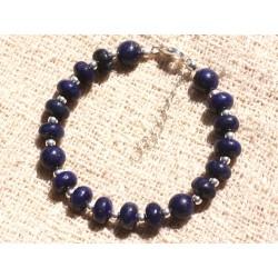 Bracelet Argent 925 et Pierre - Lapis Lazuli Boules Rondelles 8mm