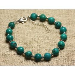 Bracelet Argent 925 et Perles de Pierre Turquoise Naturelle 8mm