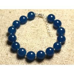 Bracelet Argent 925 et Pierre - Jade Bleue 10mm