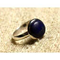 Bague Argent 925 Lapis Lazuli Rond 10mm Taille Réglable