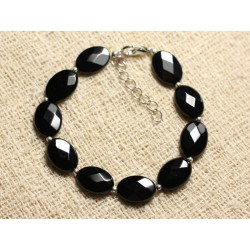 Bracelet Argent 925 et Pierre - Onyx Noir Ovales Facettés 14x10mm