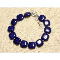 Bracelet Argent 925 et Pierre - Lapis Lazuli Carrés 10mm