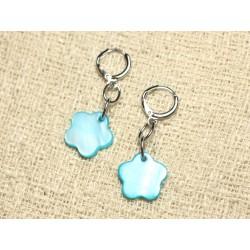 Boucles d'Oreilles Nacre Fleurs 15mm Bleu Turquoise