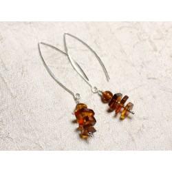 Boucles d'oreilles argent 925 Longs crochets et Ambre naturelle 6-10mm