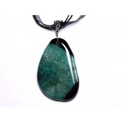 N12 - Collier Pendentif en Pierre - Agate noire et Quartz Turquoise Goutte 60mm