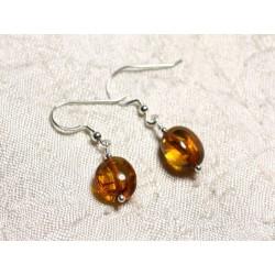 Boucles d'oreilles argent 925 et Ambre naturelle Olives 9-10mm