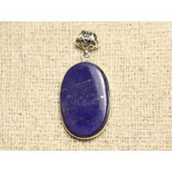 N33 - Pendentif Argent 925 et Pierre - Lapis Lazuli Ovale 30x19mm