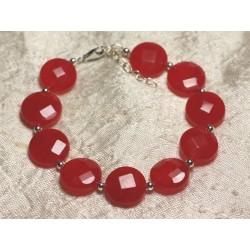 Bracelet Argent 925 et Pierre - Jade Palets Facettés 14mm Rouge