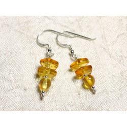 Boucles d'oreilles argent 925 et Ambre naturelle Miel 6-9mm