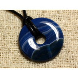 Collier Pendentif en Pierre - Agate Bleue Donut 30mm