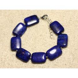 Bracelet Argent 925 et Pierre - Lapis Lazuli Rectangles 18mm