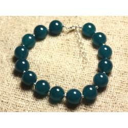 Bracelet Argent 925 et Pierre - Jade Bleu Vert 10mm