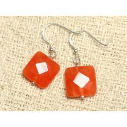 Boucles d'Oreilles Argent 925 et Pierre - Jade Orange Carrés Facettés 14mm