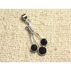 Pendentif Argent 925 et Pierre 34mm - Onyx noir 5-6mm