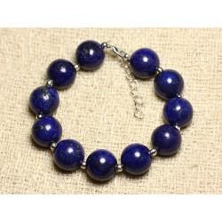 Bracelet Argent 925 et Pierre - Lapis Lazuli Boules 12mm