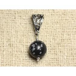 Pendentif Pierre semi précieuse - Obsidienne Flocon 12mm