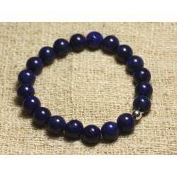 Bracelet Argent 925 et Perles de Pierre Lapis Lazuli 8mm