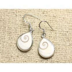 Boucles d'oreilles argent 925 Oeil Shiva Sainte Lucie Gouttes 17mm N1