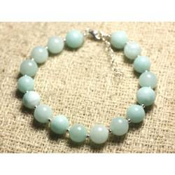 Bracelet Argent 925 et Pierre - Jade Bleu Turquoise 8mm
