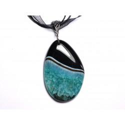 N11 - Collier Pendentif en Pierre - Agate noire et Quartz Turquoise Goutte 60mm