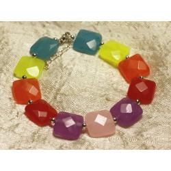 Bracelet Argent 925 et Pierre - Jade Multicolore Carrés Facettés 14mm