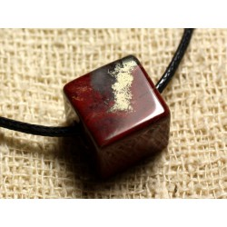 Collier Pendentif en Pierre - Jaspe Rouge Bréchique Cube 15mm