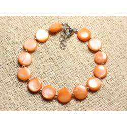Bracelet Argent 925 et Nacre Palets 10mm Orange