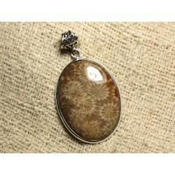 N7 - Pendentif Argent 925 et Pierre - Corail Fossile Ovale 38x28mm