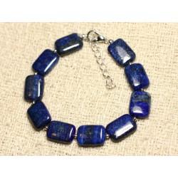 Bracelet Argent 925 et Pierre - Lapis Lazuli Rectangles 14mm