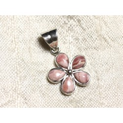 Pendentif Argent 925 et Pierre semi précieuse - Rhodochrosite Fleur 16mm