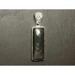 n50 - Pendentif Argent 925 et Pierre - Obsidienne Arc en Ciel Oeil Céleste Rectangle 36x14mm