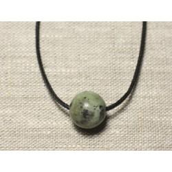 Collier Pendentif Pierre semi précieuse - Turquoise Afrique Boule 14mm
