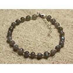 Bracelet Argent 925 et Perles de Pierre Labradorite Boules 5mm