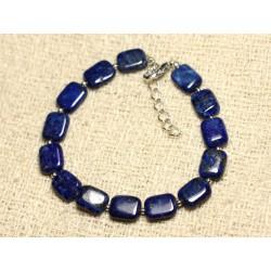 Bracelet Argent 925 et Pierre - Lapis Lazuli Rectangles 10mm