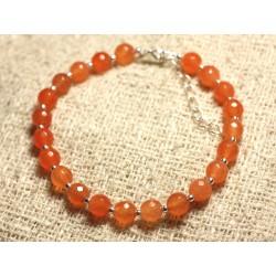 Bracelet Argent 925 et Pierre - Jade Orange Facettée 6mm