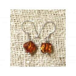 Boucles d'Oreilles Ambre Cognac Facettée et Argent 925 Ambre Orange / Bronze