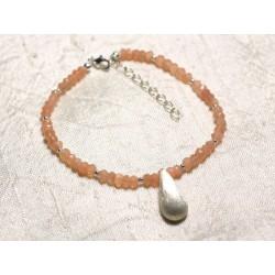 Bracelet Argent 925 et Pierre - Pierre de Lune Soleil rose orange rondelles facettées 3mm