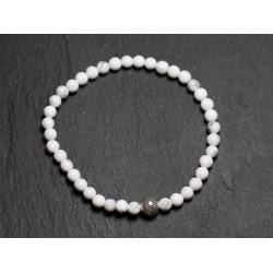 Bracelet Pierre semi précieuse Howlite 4mm et Perle argentée