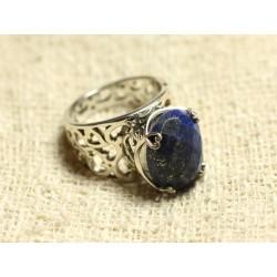 n111 - Bague Argent 925 et Pierre - Lapis Lazuli Ovale Facetté 16x12mm