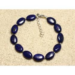 Bracelet Argent 925 et Pierre - Lapis Lazuli Ovales 12mm