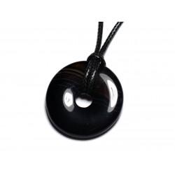 Collier Pendentif Pierre semi précieuse - Agate Noire Donut Pi 30mm
