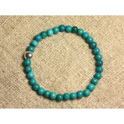 Bracelet Argent 925 et Pierre semi précieuse - Turquoise Naturelle 6mm