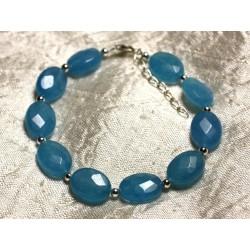 Bracelet Argent 925 et Pierre - Jade Bleue Ovales Facettés 14x10mm