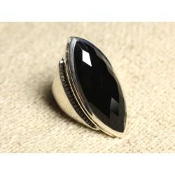 N348 - Bague Argent 925 Onyx Noir facetté Marquise 34x14mm