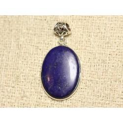 N31 - Pendentif Argent 925 et Pierre - Lapis Lazuli Ovale 29x21mm