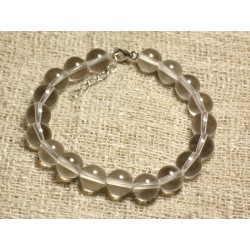 Bracelet Argent 925 et Perles de Pierre Cristal de Roche Quartz 8mm