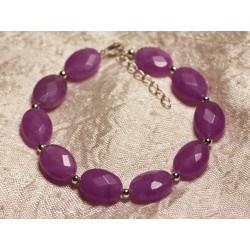 Bracelet Argent 925 et Pierre - Jade Violet Rose Ovales Facettés 14x10mm