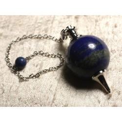 Pendule Métal Argenté Rhodium et Pierre semi précieuse - Lapis Lazuli Boule 30mm