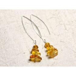 Boucles d'oreilles argent 925 Longs crochets et Ambre naturelle Miel 6-14mm