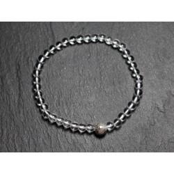 Bracelet Pierre semi précieuse Cristal Quartz 4mm et Perle argentée